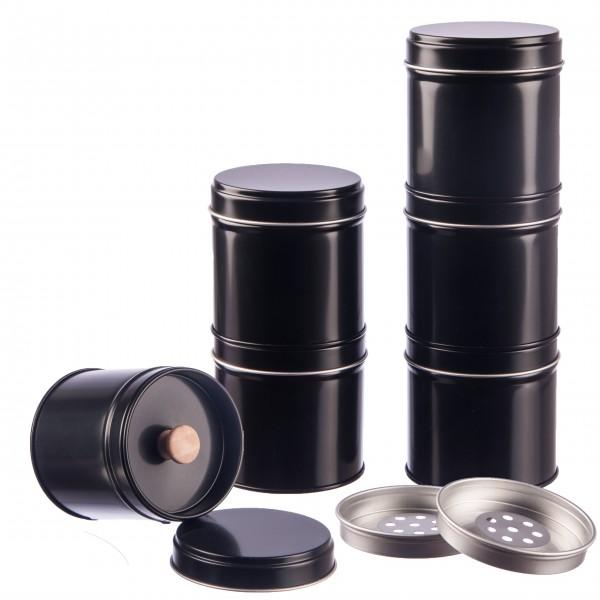 6 schwarze Gewürzdosen mit extra Aromadeckel & 2 Streueinsätzen inkl. 6 Etiketten
