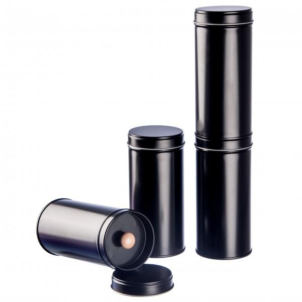 6 schwarze Teedosen mit extra Aromadeckel inkl. 6 Etiketten